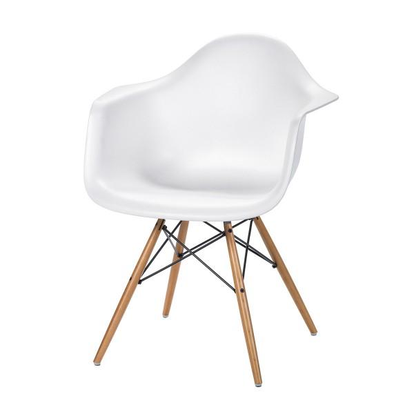 Eames Plastic Armchair Mit Holzbeinen, Weiß